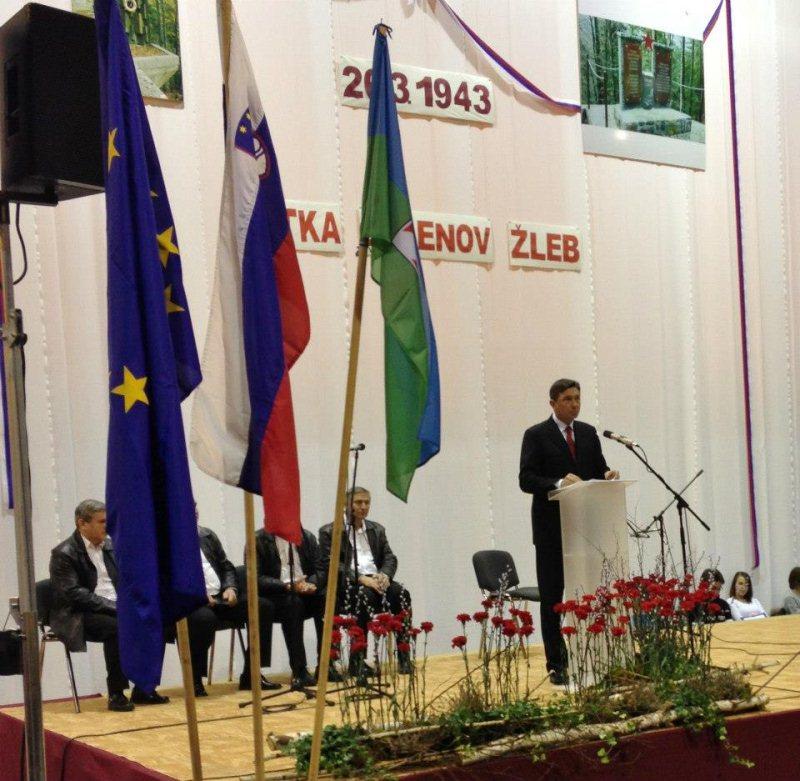 Borut pahor - govornik na 70. obletnici partizanske bitke pri Jelenovm Žlebu