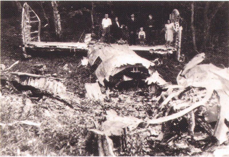 Ostanki bombnika B-24, ki se je zrušil pri Ribnici (2 in 3) iz knjige Zlomljena krila, originali fototeka MNZ Ljubljana
