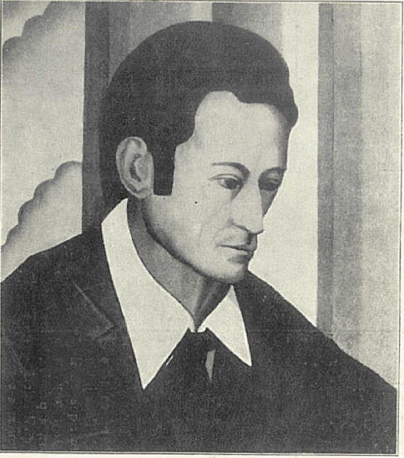Gregor Perušek, avtoportret, razglednica