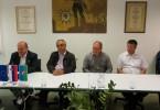 Jože Tanko, Jože Levstek, Ivan Benčina, Blaž Milavec in Franc Lesar ter Pavle Hočevar ob podpisu pogodbe