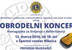 Dobrodelni koncert Lions kluba Ribnica - plakat