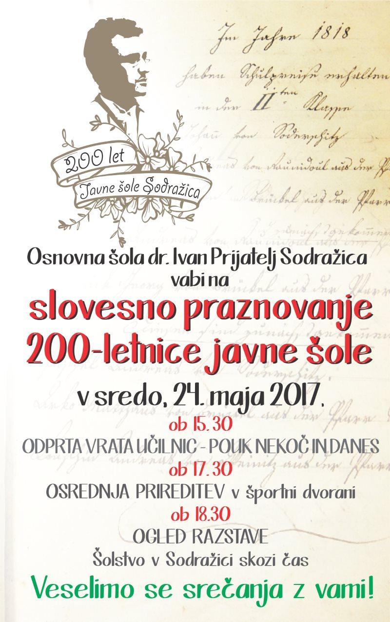 OŠ dr. Ivan Prijatelj, slovesno praznovanje 200-letnice javne šole, plakat